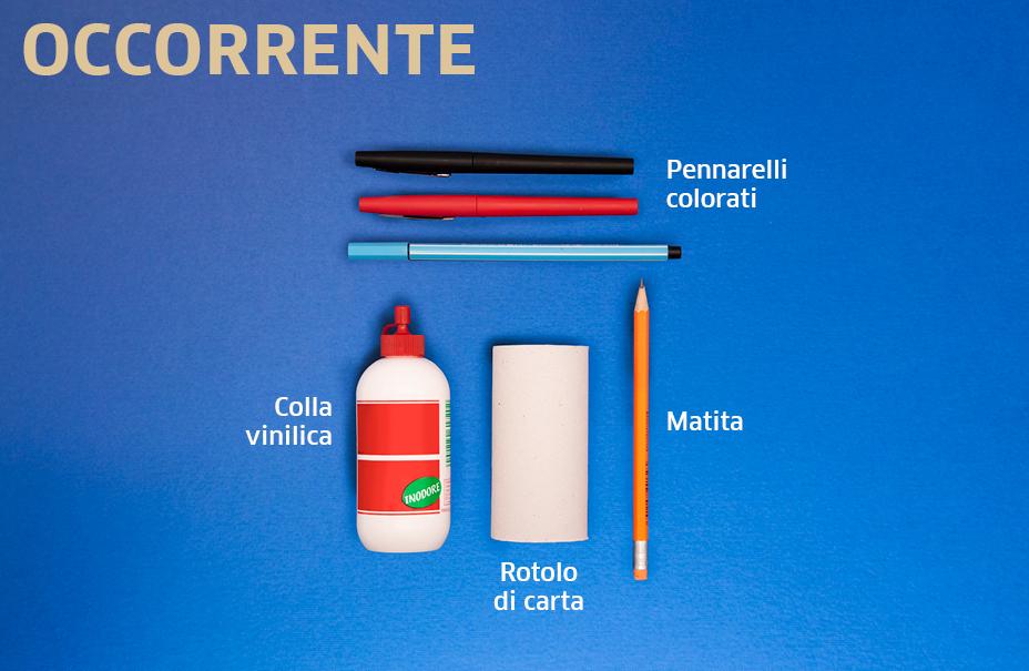 occorrente per tutorial: colla, cartoncino, pennarelli